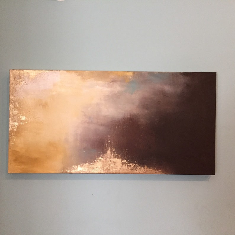 Gold Leaf Art Abstract Long Painting   Aerial image 0