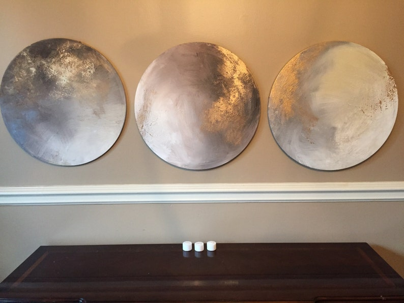 Moon Round Abstract Painting Gold Grey  To the Moon and image 0