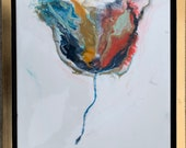 """Flower Painting Resin with Gold Red Blue White Framed 14"""" x 14"""""""