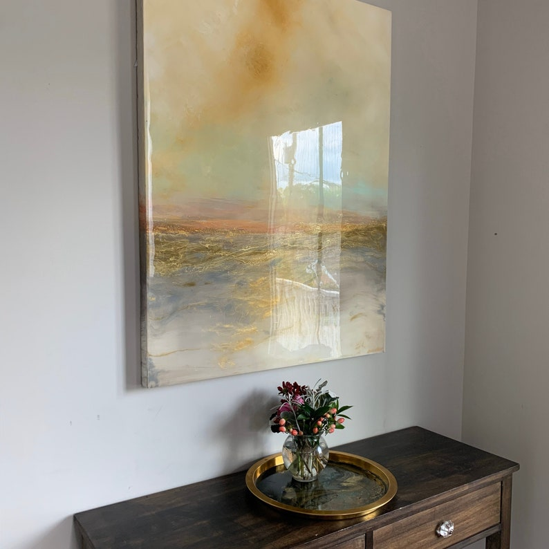 Large Landscape Abstract Gold and White Resin Painting image 0