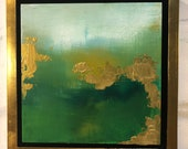 """Framed Green Gold Abstract Painting Series """"Spring Greening"""" 10"""" x 10"""" series"""