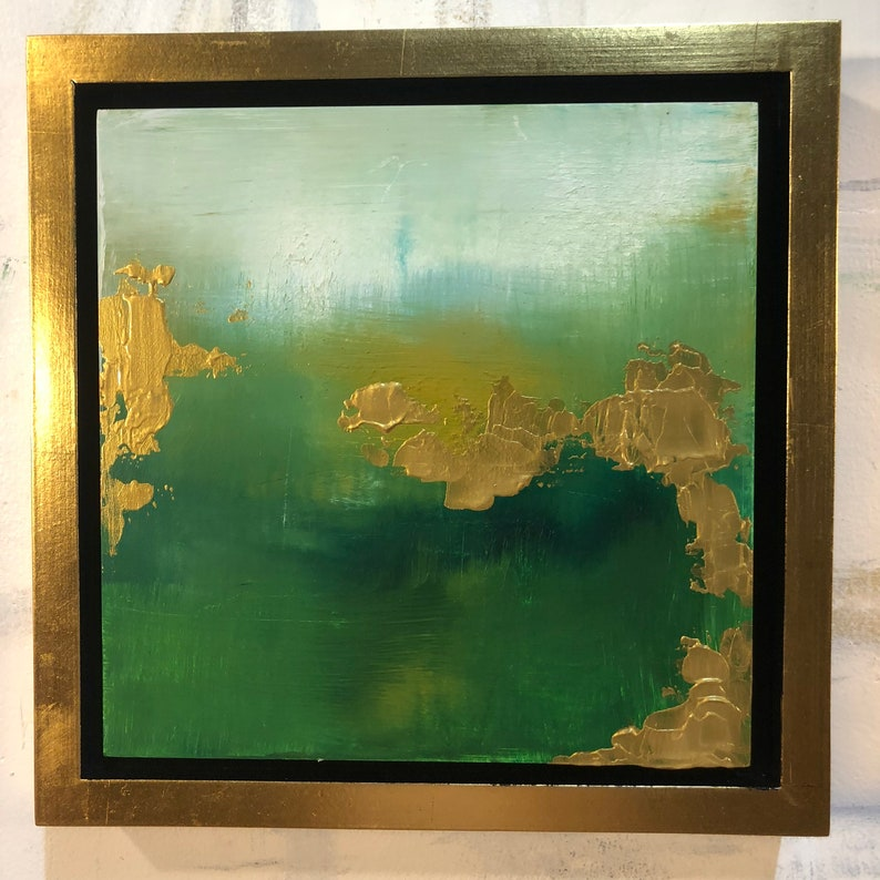 Framed Green Gold Abstract Painting Series Spring image 0