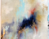 """Large 48"""" x 48"""" Abstract Gold Leafed Original """"Beginnings"""""""