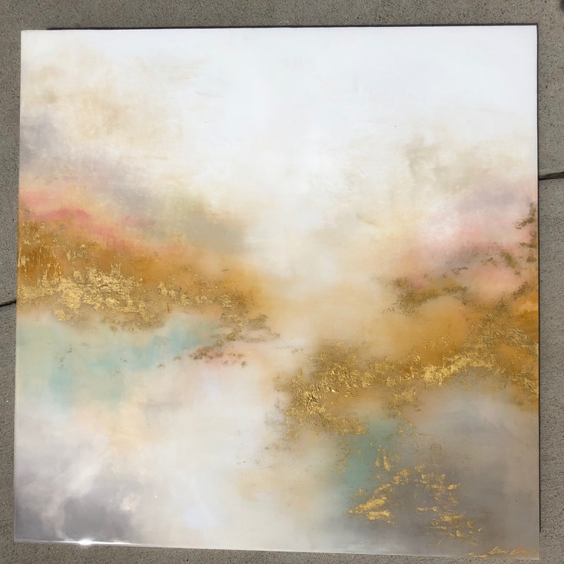 Resin Gold Abstract White Painting Reflections image 0