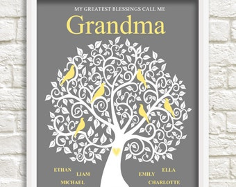 Mother's day Gift for Grandma, Personalized Grandma Gift, Custom Family Tree for Grandma, Gift for Grandma, Custom Wall Art