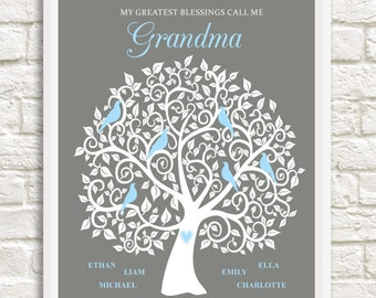 Grandma Family Tree, Personalized Grandma Gift,  Christmas Gift for Grandma, Custom Family Tree for Grandma,  Gift for Grandma,