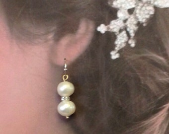 Bridesmaids Set of 3 White Fresh Water Pearl and Crystal  Earnings. Gift set.