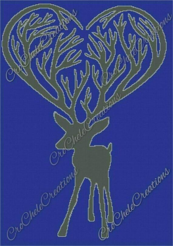 Reindeer Antler Heart Graphgan 250x354***PATTERN ONLY***PDF File***Crochet Tunisian