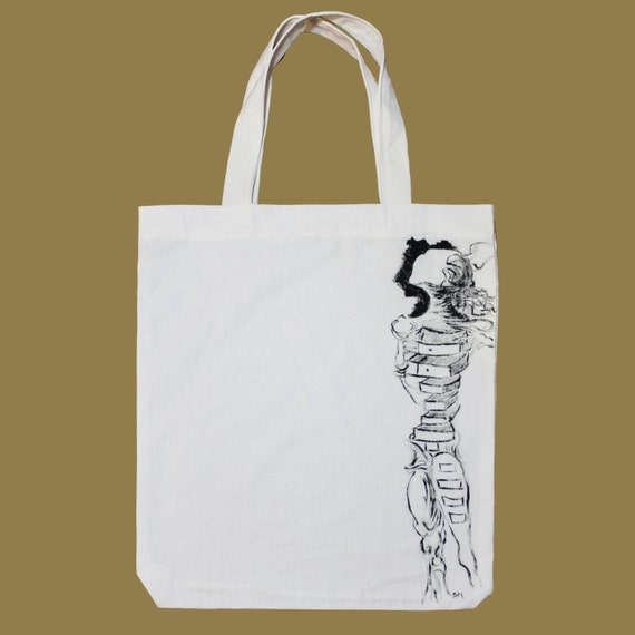 a8746078711 Surrealist Woman Dalí hand painted tote bag   Etsy