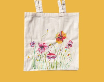 Wild flowers tote bag, hand painted poppies cotton shopping bag, multi use botanical eco bag for Sustainable living