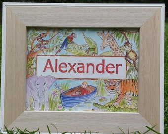 Personalised Childrens Name Painting – New Baby Girl/Boy Gift Idea - Kids Nursery Wall Art – Custom Hand-painted Name Print - Jungle Journey