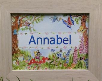 Personalised Childrens Name Painting – New Baby Girl/Boy Gift Idea - Kids Nursery Wall Art – Custom Hand-painted Name Print - Fairies Garden