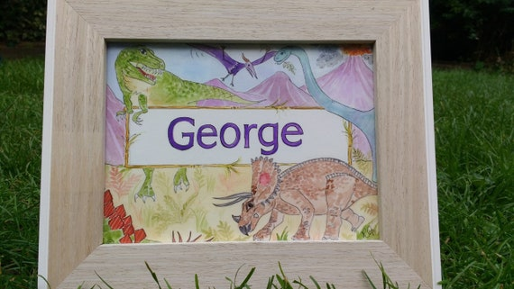 bedroom print Nursery wall print Personalised Dinosaur name print Girls boys