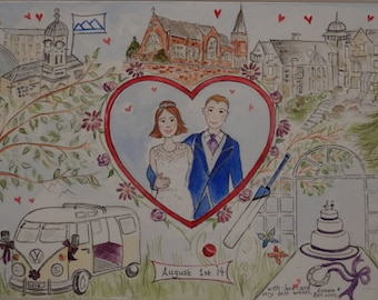 Bespoke Wedding or Engagement Painting Gift