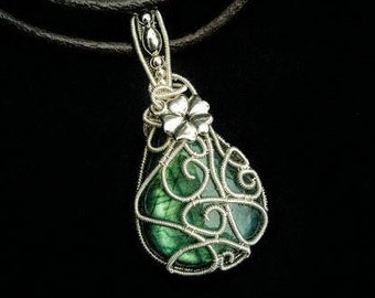 Flower necklace turquoise labradorite wire wrapped silver wire on leather cord