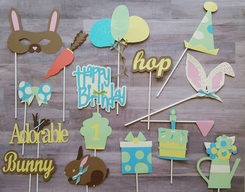 Bunny Themed First Birthday Photo Booth Props