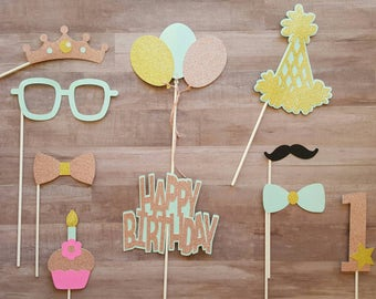 AS IS Ready to SHIP First Birthday Girl Photo Booth Props