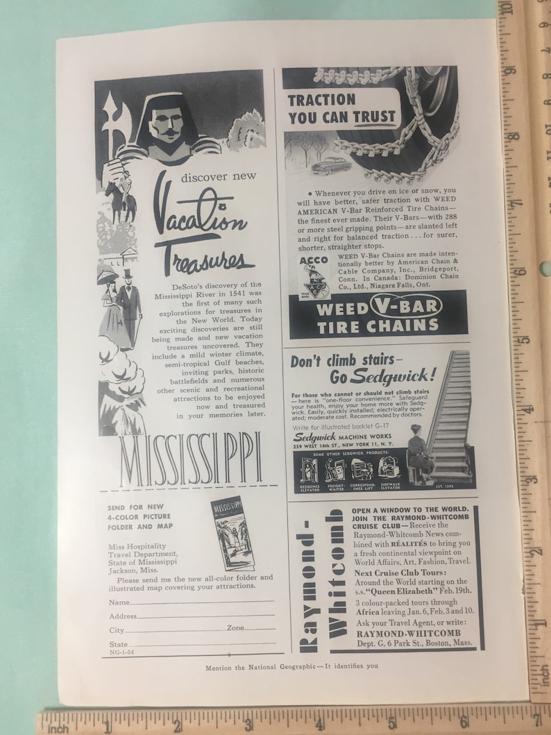 1954 magazine ads - FTD florists, mississippi, weed vbar chains, sedgwick,  raymond whitcomb cruise club