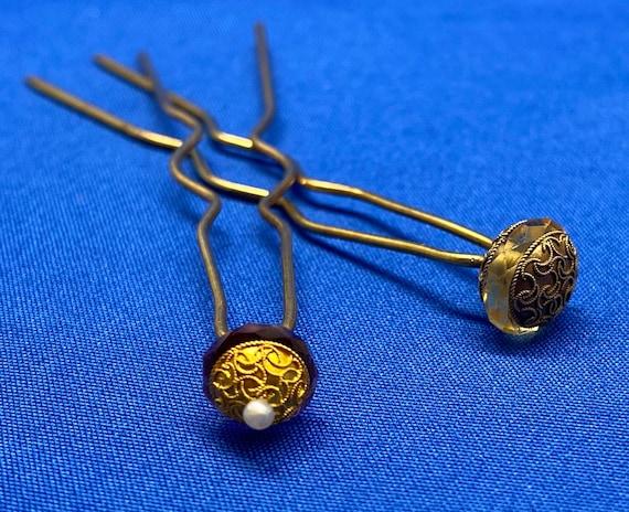 Vintage 14K Gold Victorian Etruscan Amethyst Pearl