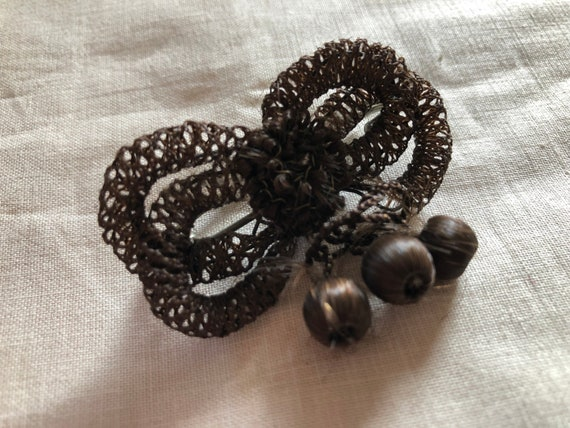Vintage Hand Made Human Hair Brooch Antique