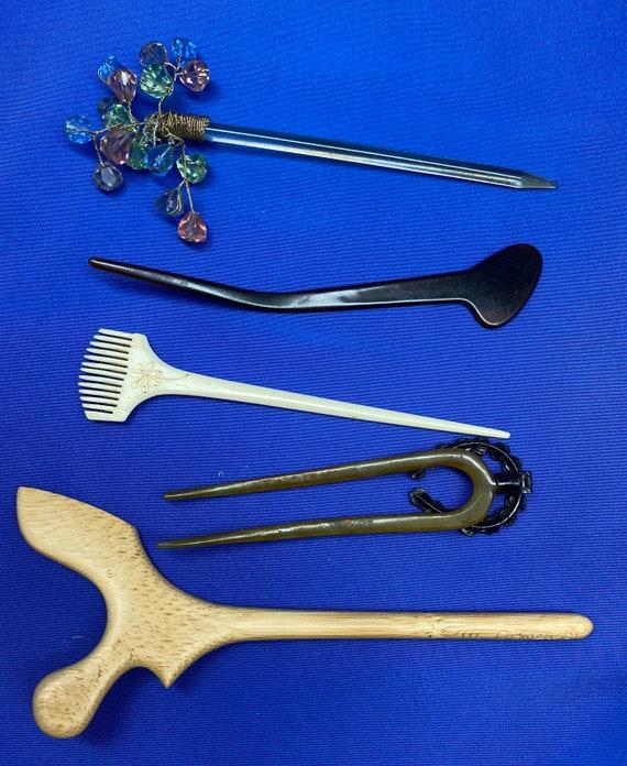 Vintage Set of 5 Antique Hairpins or Bodkins - image 2