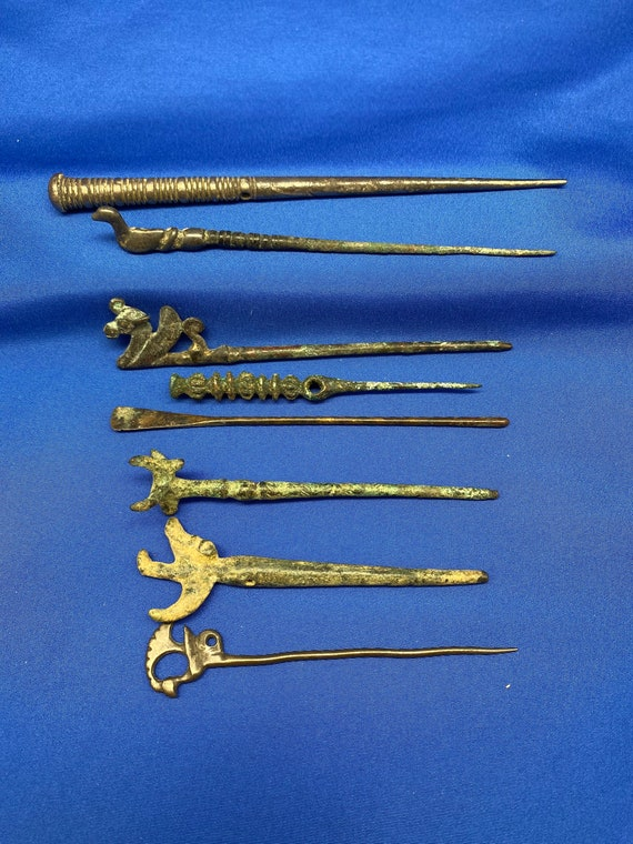 Ancient Luristan Silver and Bronze Hairpins Dating