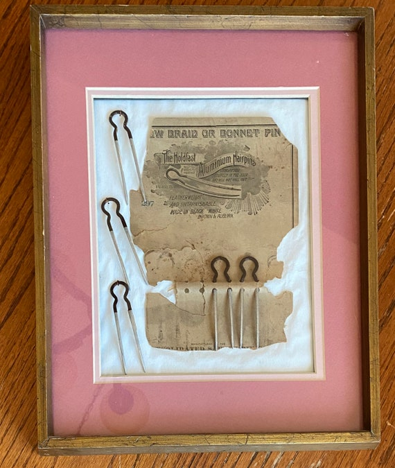 Framed Antique Hairpins with Original Package Vint