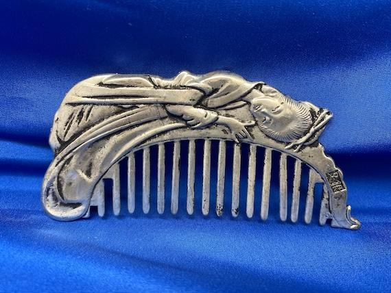 Antique Japanese Silver Kusi Comb Metal Vintage Ha