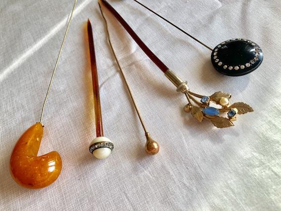 Vintage Set of 5 Antique Hairpins Bodkins Hat Pins