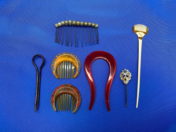 Vintage Set of 7 Antique Hairpins and Haircombs