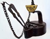 PRUSS MINERS LAMP Rare Frog Oil Iron Cast Lantern Antique Germany 1800 glück auf A252