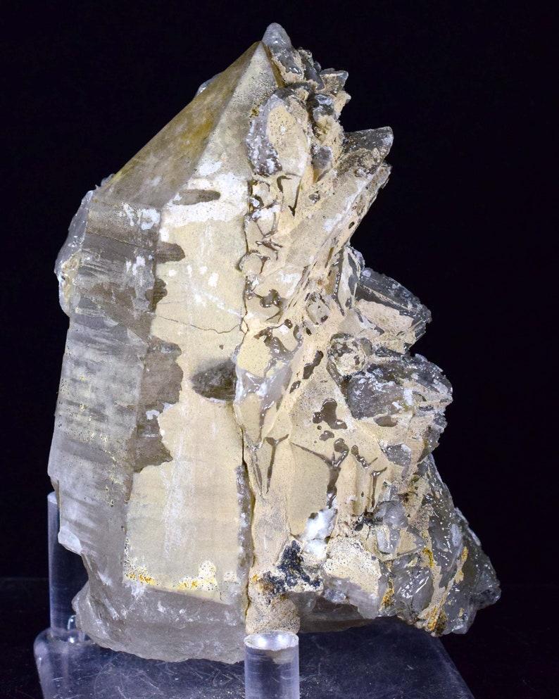 9.5cm QUARTZ CRYSTAL CALCITE Dogtooth Peru Shiny Bright Rare Mineral Specimen Collector QE245