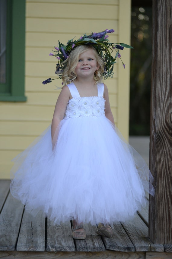 Toddler tutu dresswhite tutu dressflower girl dressprincess etsy image 0 mightylinksfo