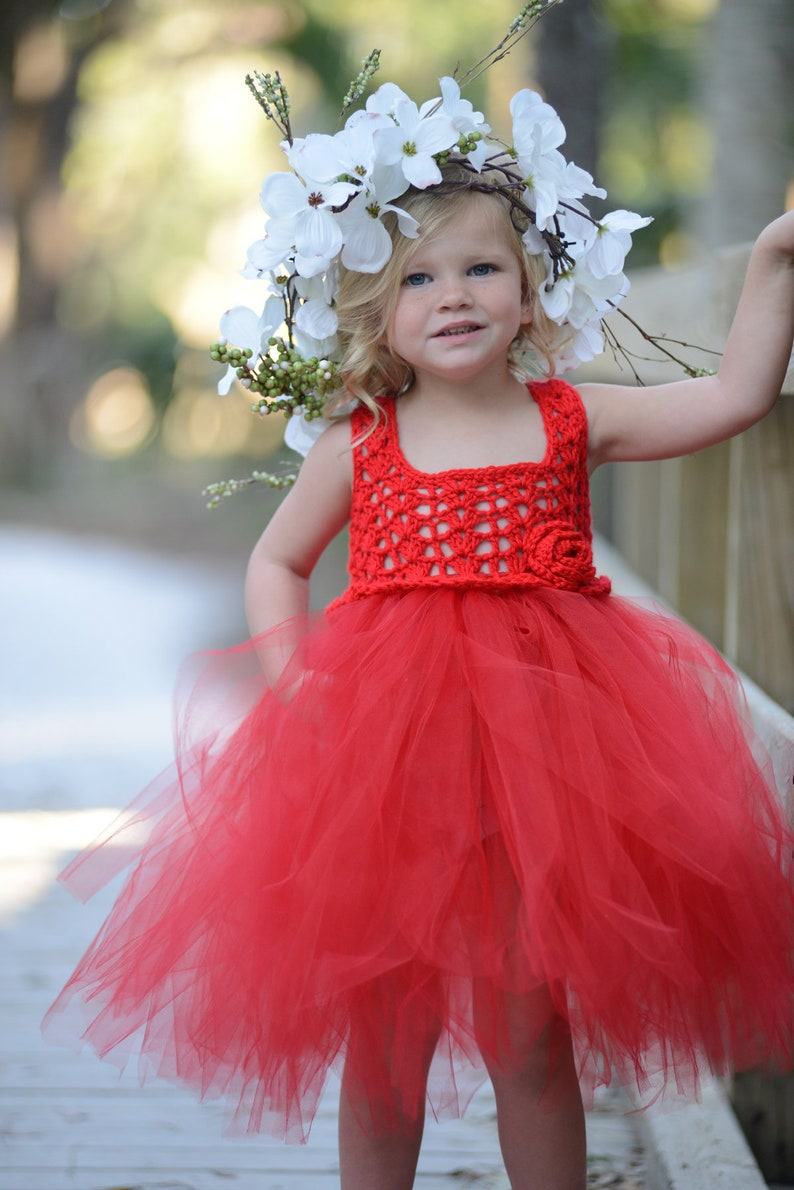 8da73bcd1 Red Flower Girl Dress Red Tutu Dress Red Toddler Tutu