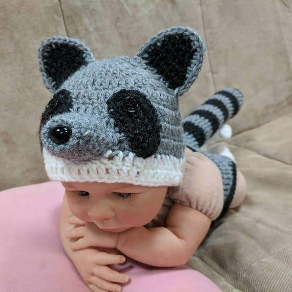 Newborn Raccoon Costume Crochet Raccoon Hat Raccoon Outfit  a9c72a81ff0