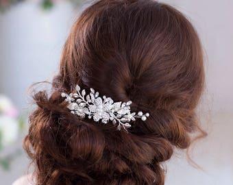Silver hair comb Leaf hair comb Wedding hair comb Bridal hair comb Flower hair comb Crystal hair comb Bridal comb Wedding comb Silver comb