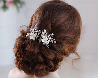 Bridal hair pins Wedding hair pins Flower hair pins Bridal hairpin Pearl hair pins Wedding bobby pins Leaf hair pins Silver hair pins