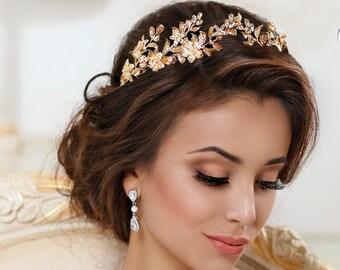 Leaf Gold Bridal tiara Wedding crown Leaf headband Rhinestone Gold bridal headpiece Gold hair accessories Silver Wedding tiara headpiece