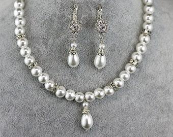 Pearl Bridal jewelry set Pearl Jewelry set Wedding Jewelry set Bridal Back drop necklace Pearl Bridal Necklace Pearl Bridesmaid jewelry set