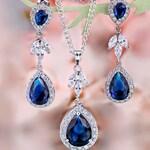 Royal Blue earrings Blue Bridal earrings Wedding blue jewelry set Blue drop earrings Navy blue Bridesmaid Sapphire earrings Something blue