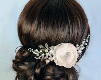Champagne hair Flower White Floral Bridal hair comb Wedding Headpiece Ivory Bridal hair Flower comb Wedding headpiece Floral hair Accessory