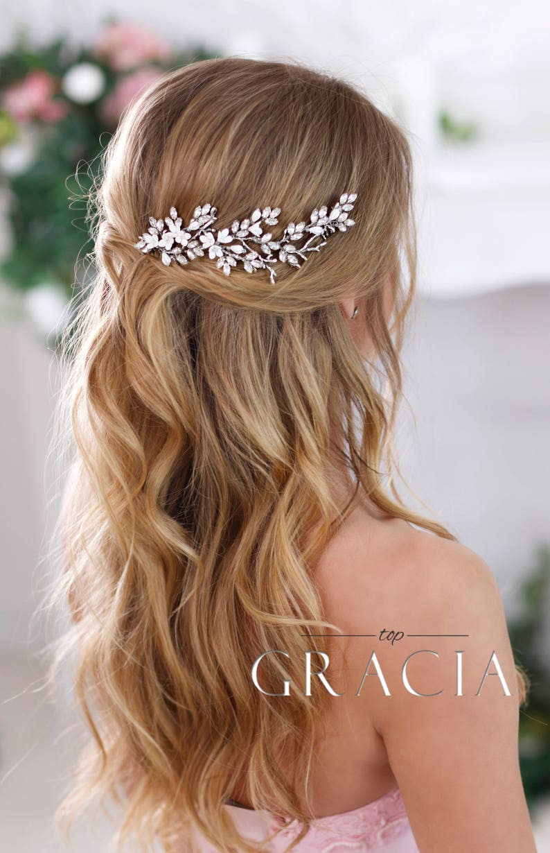 Bridal hairpiece Crystal hair comb Wedding headpiece Crystal image 0