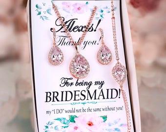 Blush earrings Blush Bridesmaid Earrings Blush bridal jewelry set Bridesmaid gift Blush pink earrings Crystal Earrings with Bridesmaid card