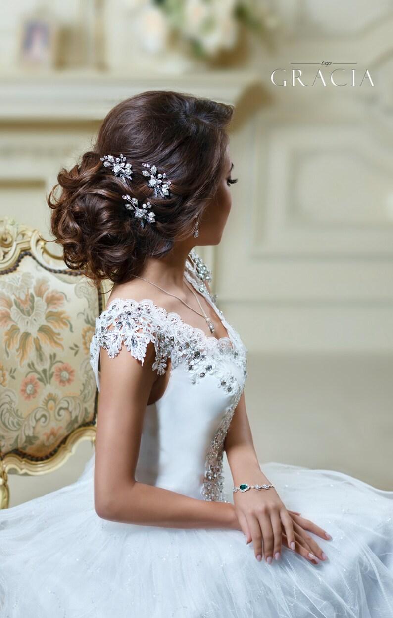 Bridal hair pins Pearl hair pins Wedding bobby pins Crystal image 0