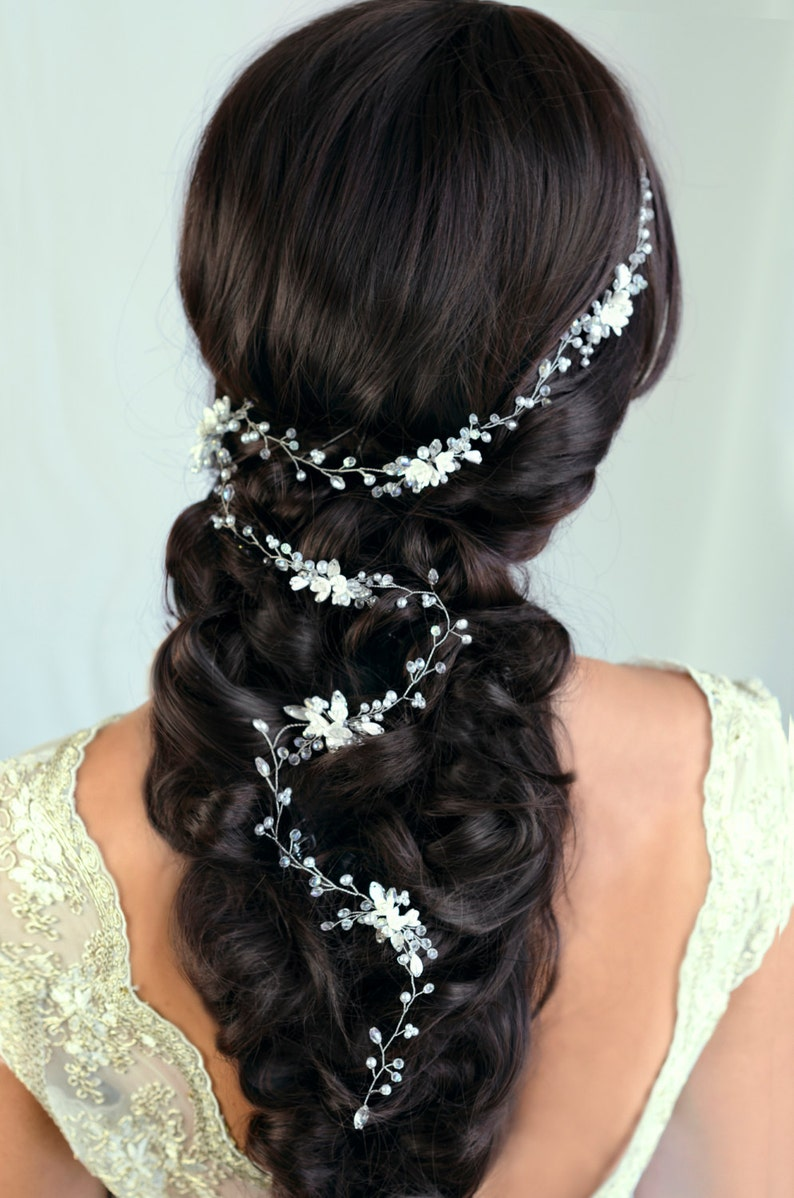 Bridal Hair Vine Wedding hair vine Flower hair vine Long hair vine Gold Pearl  hair vine Bohemian bridal headpiece 3a7e74cfda45