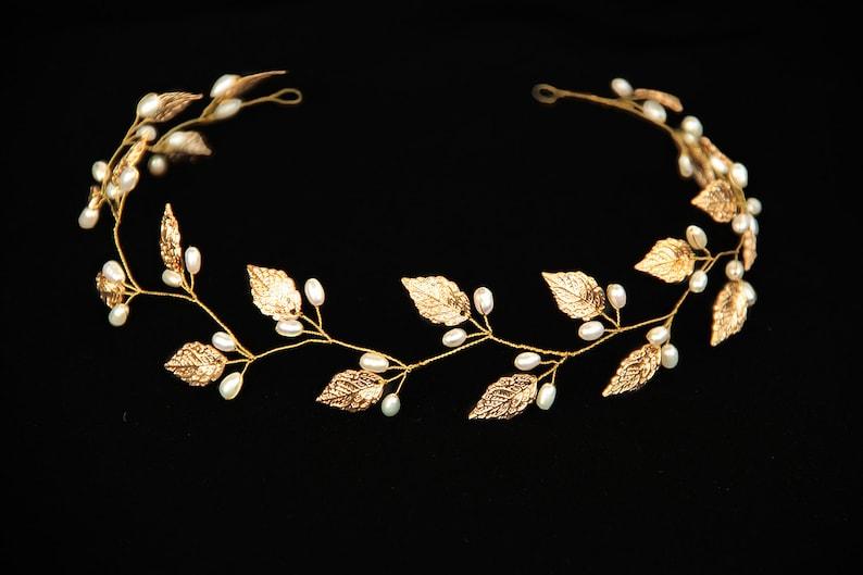 Gold Leaf headband Leaf tiara Leaf headpiece Leaf crown Bridal image 0