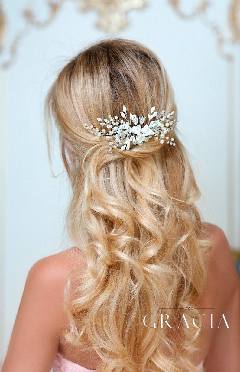 6 dorati capelli aghi Perla Colore Blu Matrimonio Sposa Gioielli per capelli