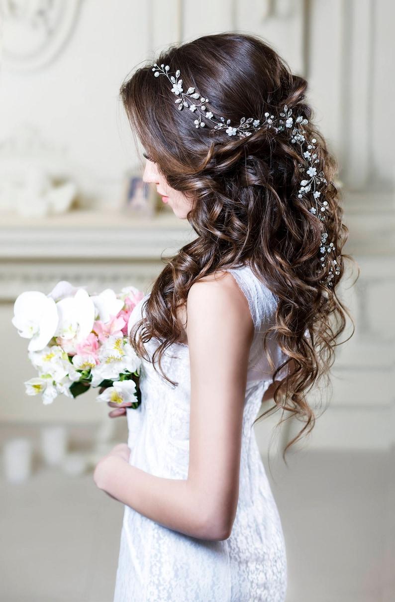 Bridal hair vine Long hair vine Wedding hair vine Flower hair  915acddf45d9