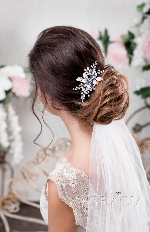 Bridal Comb Vintage Comb Prom Wedding Hair Navy Comb Gatsby Formal Hair Fall Pink Something Blue Hair Comb Wedding Comb Peach