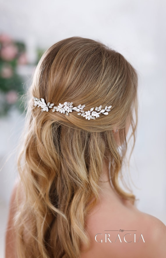 Ivory Bridal Hair Pins White Bridal Flower Hair Pins Ivory Wedding Hair Pins Rhinestone Hair Pins Crystal Hair Pins Bridal Floral Hair Pins